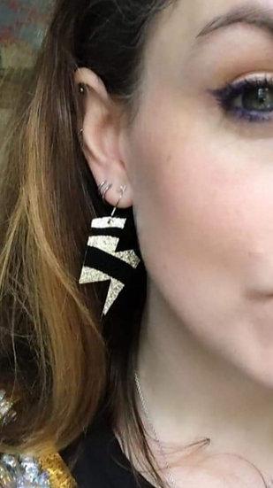 Sparkly Glitter Lightning Bolt Drop Earrings ⚡