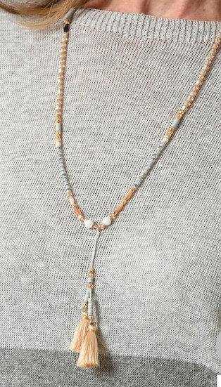Gold & Grey Tassel Necklace