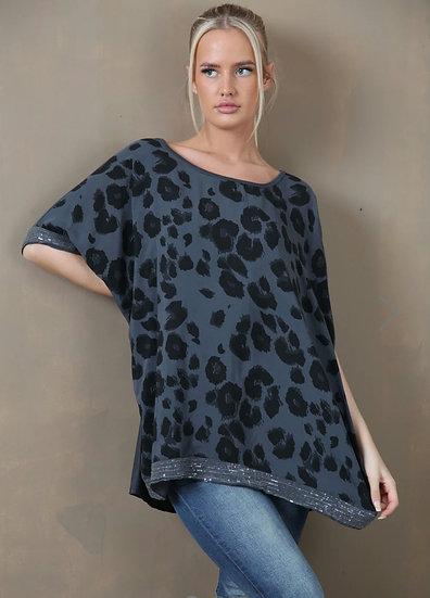 Sequin Edge Leopard Print Top -Charcoal