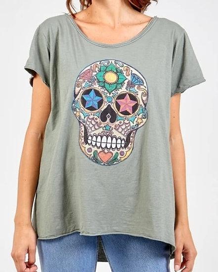 Embellished Skull Tee- Khaki