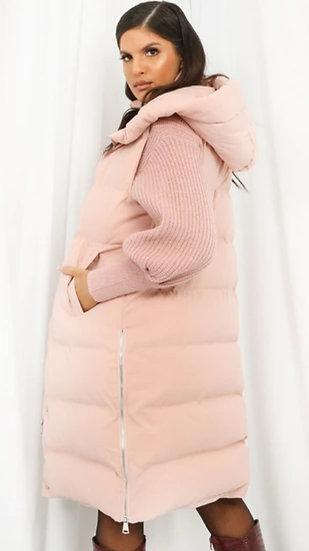 Longline Hooded Gilet- Blush Pink