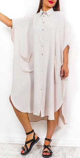 Oversized Shirt Dress -Beige