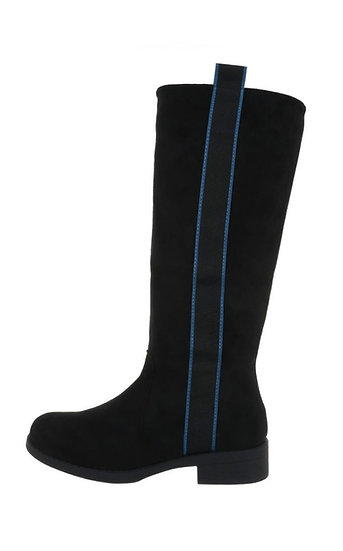 Black Long faux suede boots with ribbon strip detail sizes UK 5-8