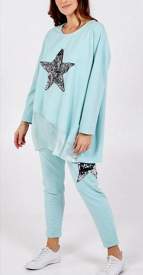 Sequin Star Silk Layer Top -Mint