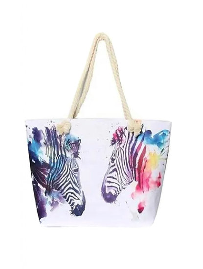 Large Zebra Canvas Bag