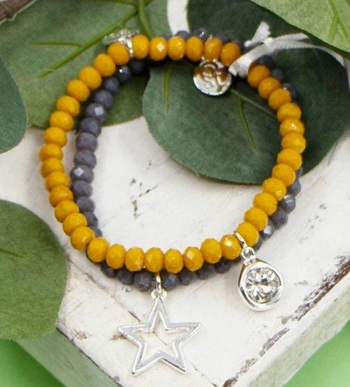 Coloured Beaded Bracelet Set With Star & Crystal