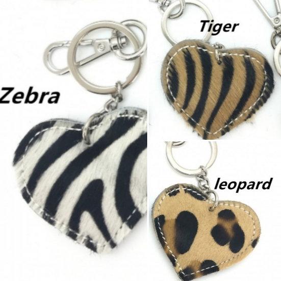 Leather Animal Print Faux Fur Heart Keyrings