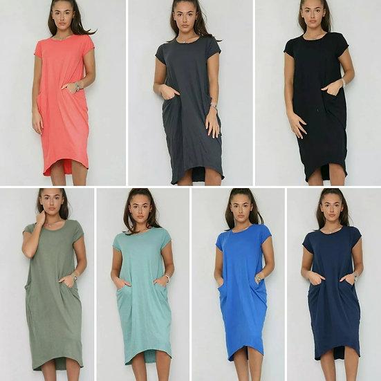 Front Pocket T shirt Dress -Various
