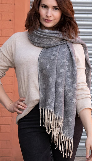 Grey Small Star Print Blanket Scarf