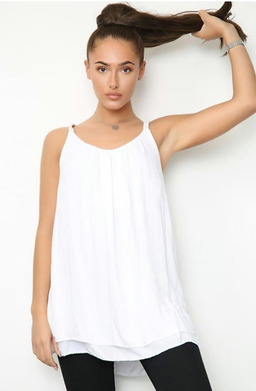Plaited Strap Double Layer Floaty Cami -White