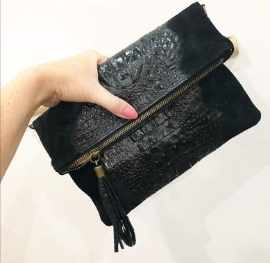 Made in Italy suede leather croc skin clutch bag -Black