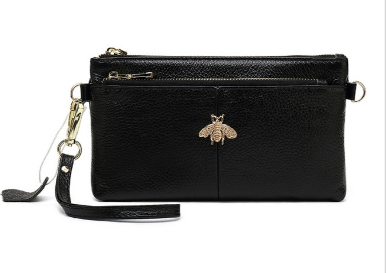 Leather Bee Wristlet Purse -Black