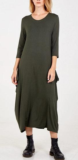 3/4 Sleeve Parachute Maxi Dress -Khaki