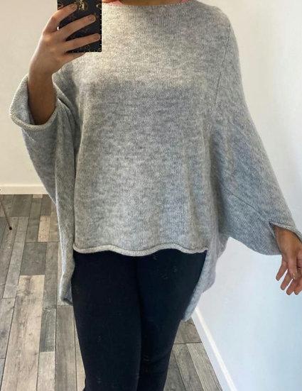 Dip Hem Knitted Jumper -Silver Grey