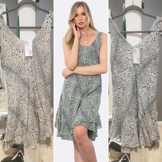 Leopard print bias cut Dress -Various