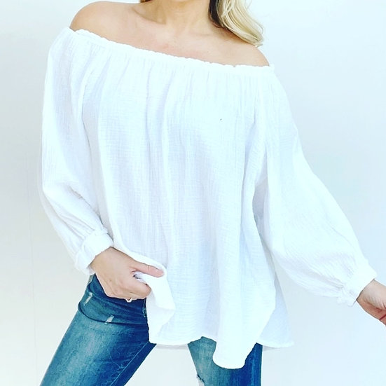 Made in Italy Cheesecloth Bardot Top -White