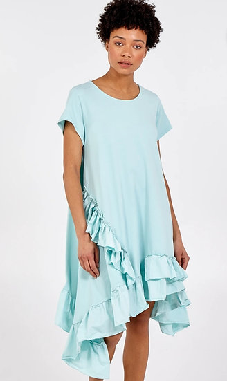 Asymmetric Ruffle Hem Dress -Mint