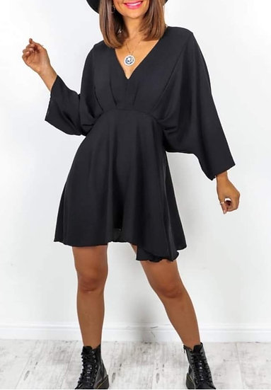 V Neck Tunic Top/Dress -Black