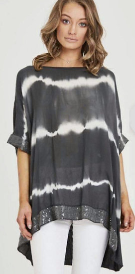 Tie Dye Sequin Edge Top -Charcoal