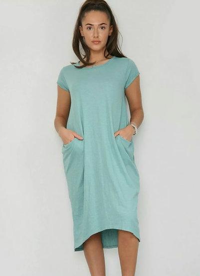 Front Pocket T shirt Dress -Mint