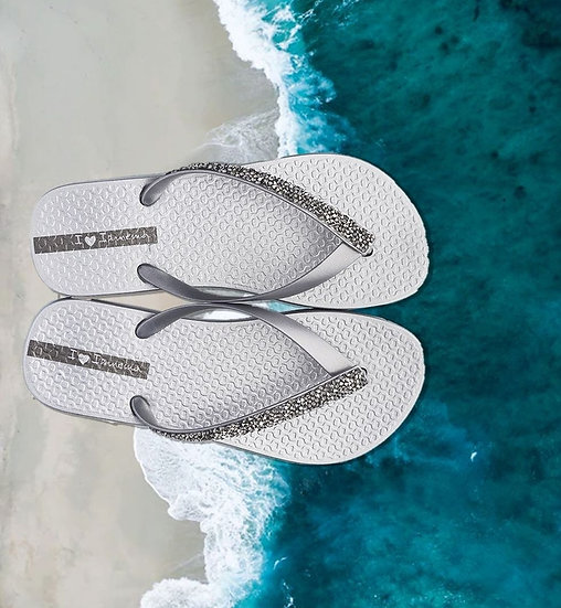 Ipanema Crystal Flip Flops- Silver