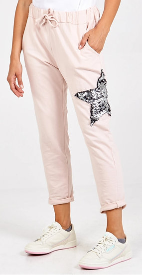 Sequin Star Joggers -Pale Pink