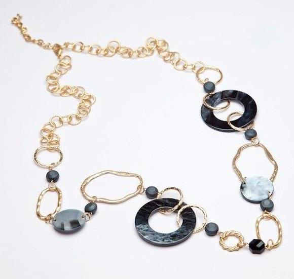 Long Statement Necklace -Black/Matt Gold