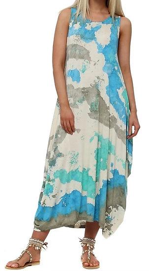Italian Splash Tie Dye Parachute Dress -Aqua