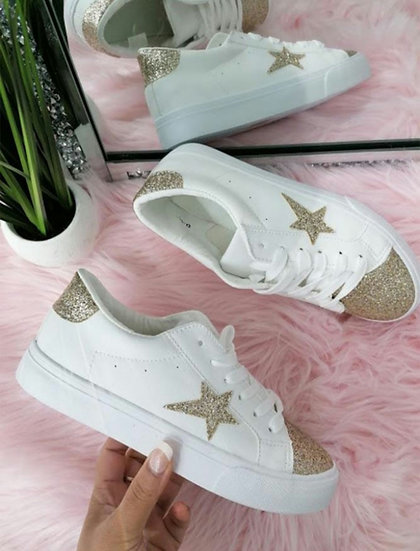 Champagne Gold Glitter Star Trainers (sizes 3-8)