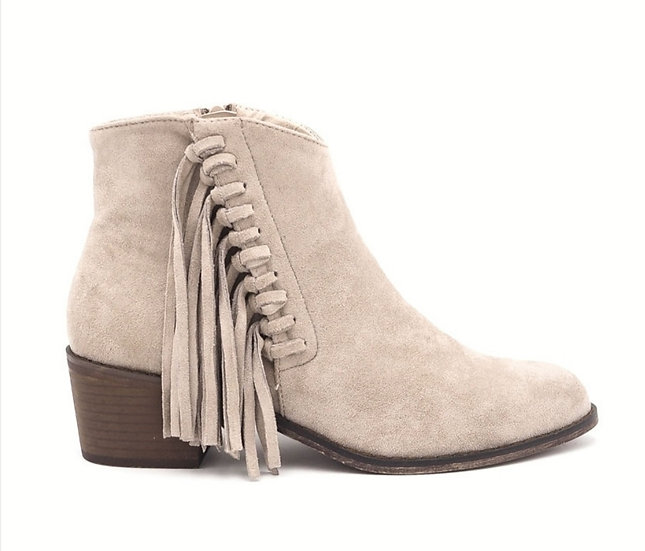Beige Fringed Boots