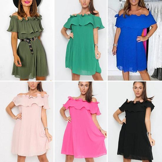 Italian bardot off the shoulder ruffle Dress -Various