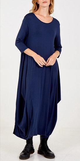 3/4 Sleeve Parachute Maxi Dress -Navy