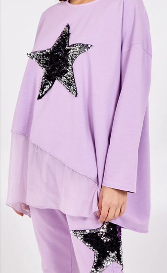 Sequin Star Silk Layer Top-Lilac