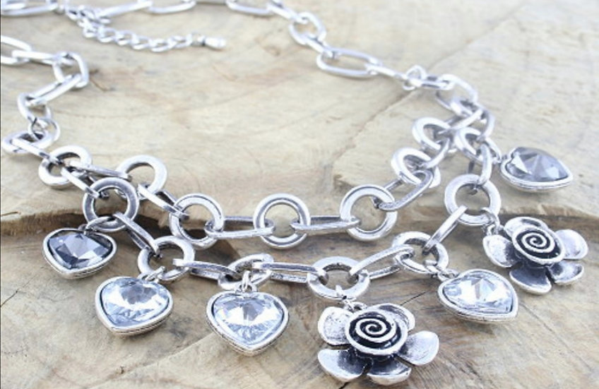 Crystal Flower Chunky Necklace
