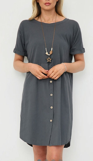 Button Tee Tunic Dress with Necklace -Charcoal