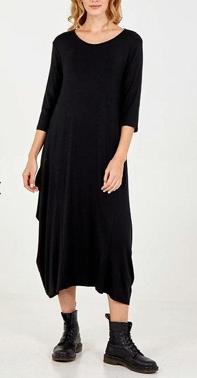 3/4 Sleeve Parachute Maxi Dress -Black