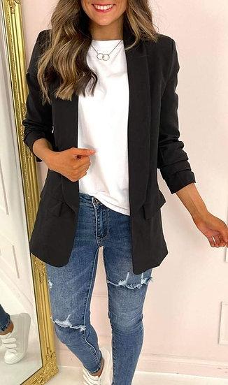 Ruched Sleeve Blazer -Black