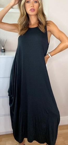 Italian Parachute Dress -Black