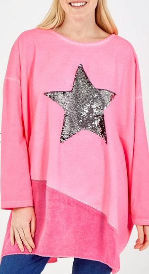 Sequin star silk hem layer top -Pink