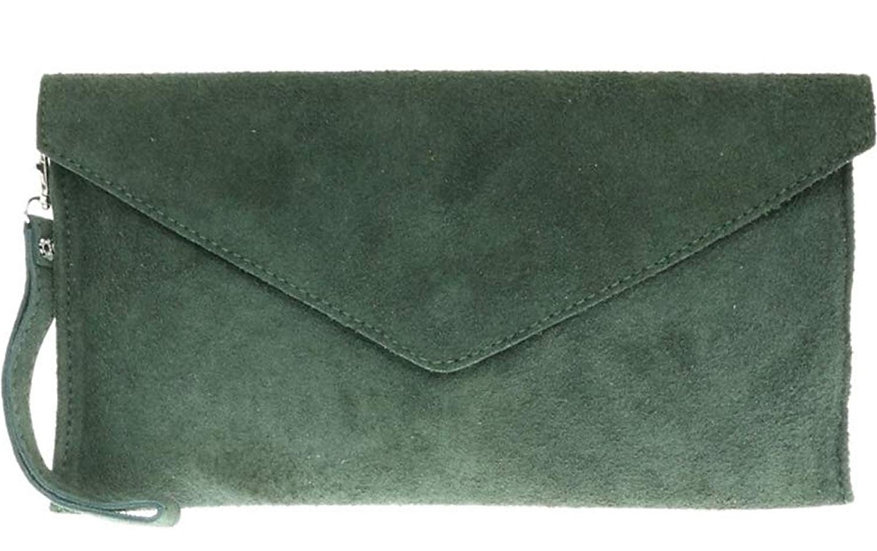 Real suede leather envelope clutch bag -Forest green
