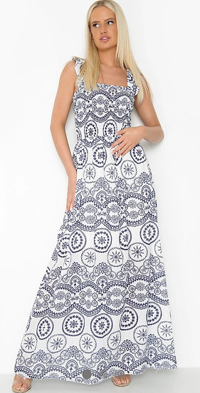 Embroidered Ruched Maxi Dress - Blue & white