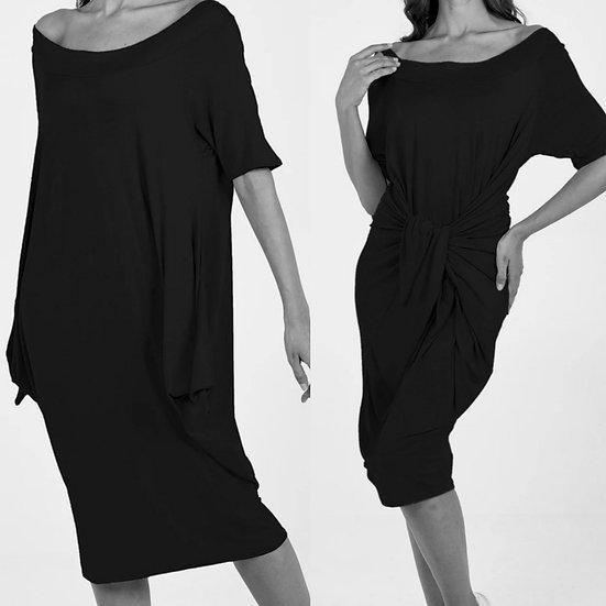 Italian Off The Shoulder Parachute Dress -Black