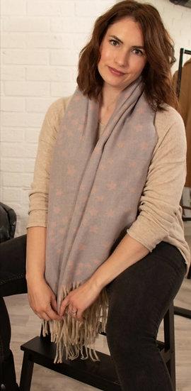Soft Pink & Grey Small Star Print Blanket Scarf