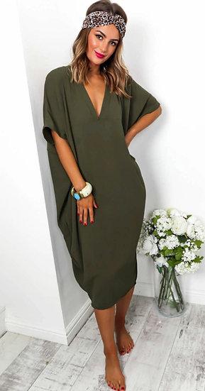Oversized V Neck Midi Dress -Khaki