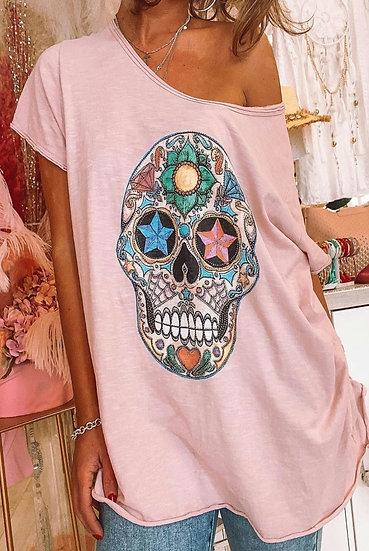 Embellished Skull Tee- Pink