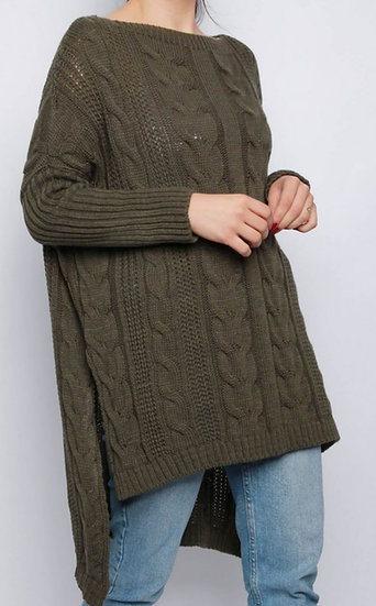 Oversized Longline Cable knit Jumper -Khaki