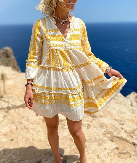 Luxury Aztec Smock Dress -Sunshine