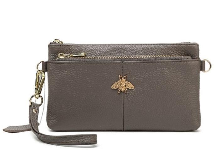 Leather Bee Wristlet Purse -Grey
