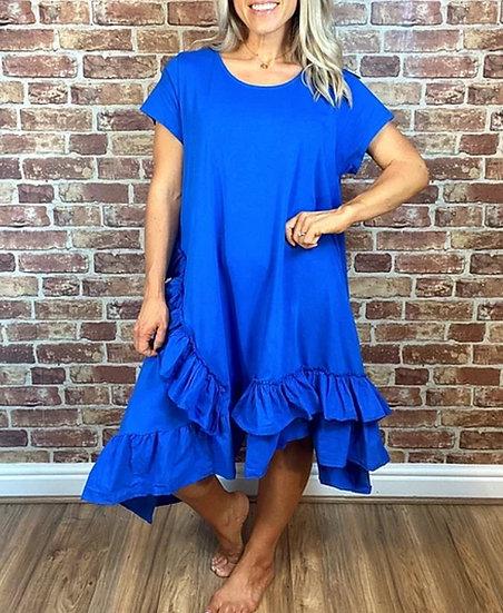 Asymmetric Ruffle Hem Dress -Cobalt Blue