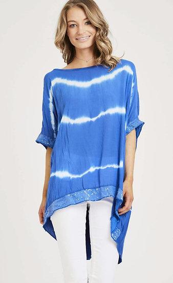Tie Dye Sequin Edge Top -cobalt